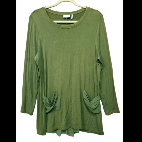 LOGO olive color long Sleeve tee Tops Shirt Size L